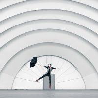 Dancing with umbrella